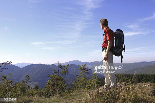 hiker looking into the valley on mt. leder tschobenstein in bernau in the black forest, baden-wuerttemberg, germany, europe - vista lateral stock pictures, royalty-free photos & images