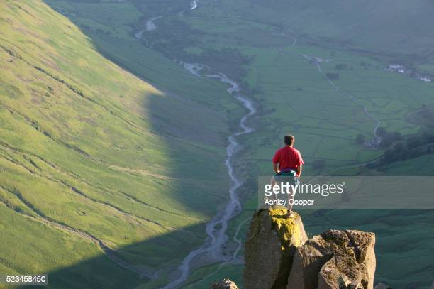 Hiker Looking Over Wasdale Valley in Lake District