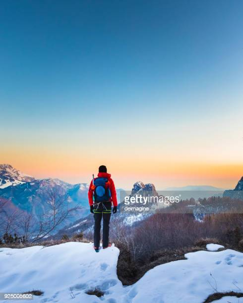 hiker looking the mountains view at sunrise - patagonia foto e immagini stock