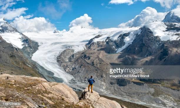 hiker looks from the mountain unterrothorn onto the glacier tongue of the findel glacier, zermatt, walliss, switzerland - monte rosa foto e immagini stock