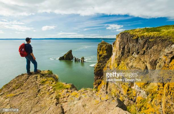 A hiker looks out over the Bay of Fundy from Cape Split