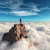 Hiker man at the top of the mountain.This is a 3d render illustration