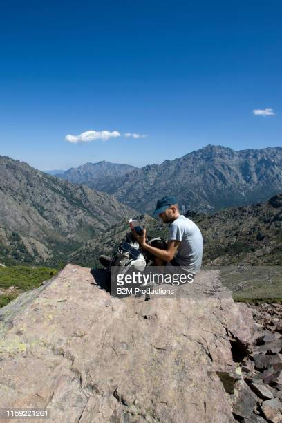 hiker mountain in corsica - 2010 2019 stock pictures, royalty-free photos & images