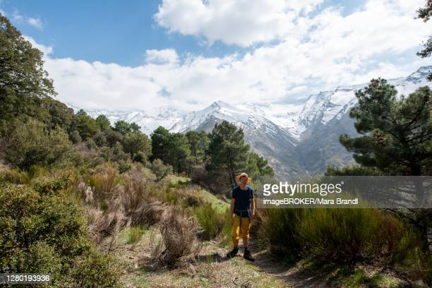 hiker on a hiking trail, hiking trail vereda de la estrella, behind sierra nevada with summits mulhacen and pico alcazaba, snow-covered mountains near granada, andalusia, spain - granada provincia de granada stock pictures, royalty-free photos & images