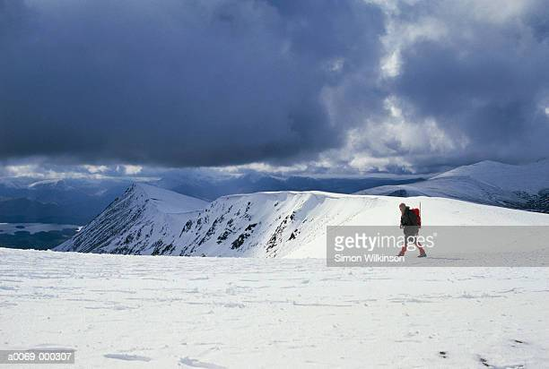 hiker on blencathra - blencathra stock photos and pictures