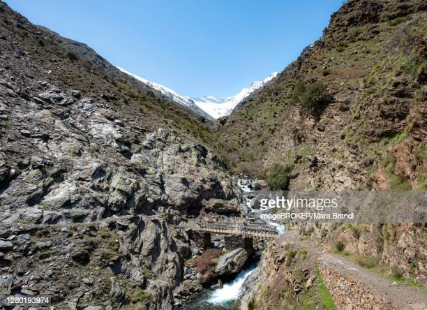 hiker on bridge at the hiking trail vereda de la estrella, behind sierra nevada with snow-covered mountains near granada, andalusia, spain - granada provincia de granada stock pictures, royalty-free photos & images