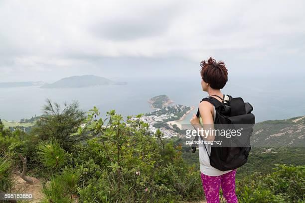 Hiker on Dragon's Back Trail, Hong Kong