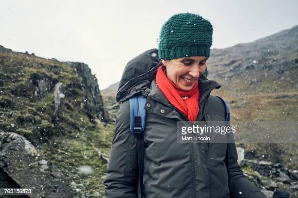 Hiker on mountain, Coniston, Cumbria, United Kingdom