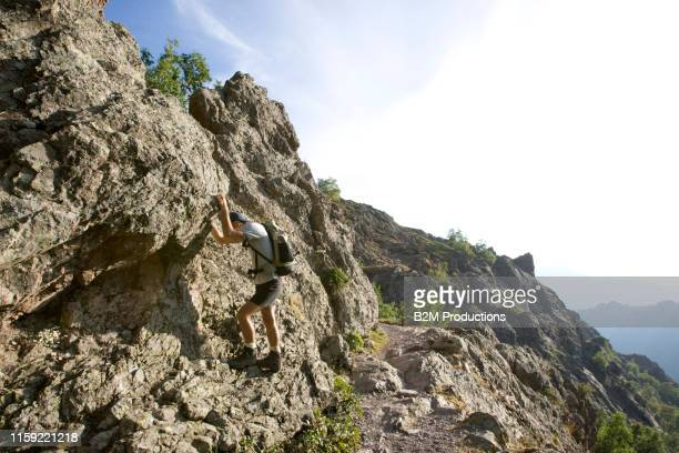 hiker on mountain in corsica - 2010 2019 stock pictures, royalty-free photos & images
