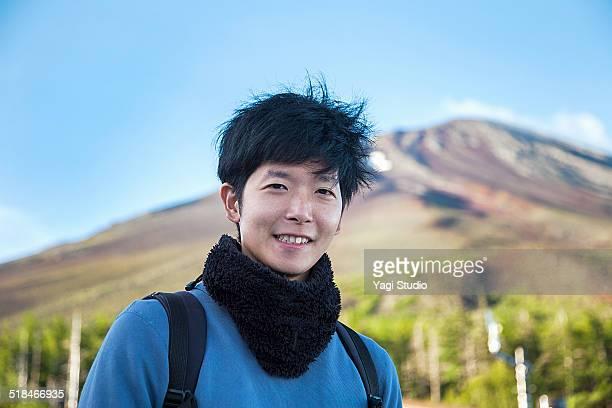 Hiker on mountain trail in Mt.Fuji