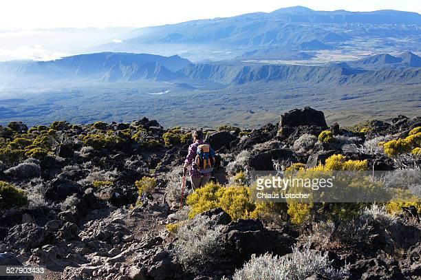 Hiker on Piton de Neiges, La Réunion