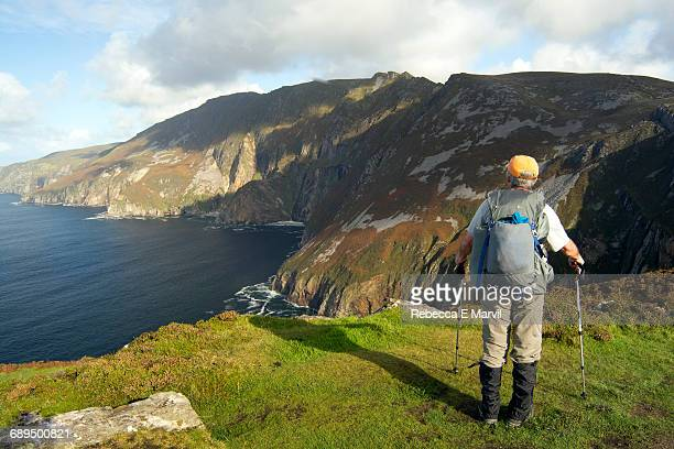 Hiker on Slieve League, County Donegal, Ireland