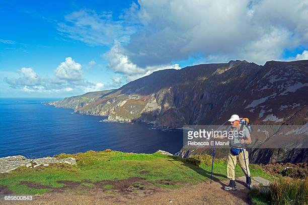 Hiker on Slieve League, Donegal, Ireland