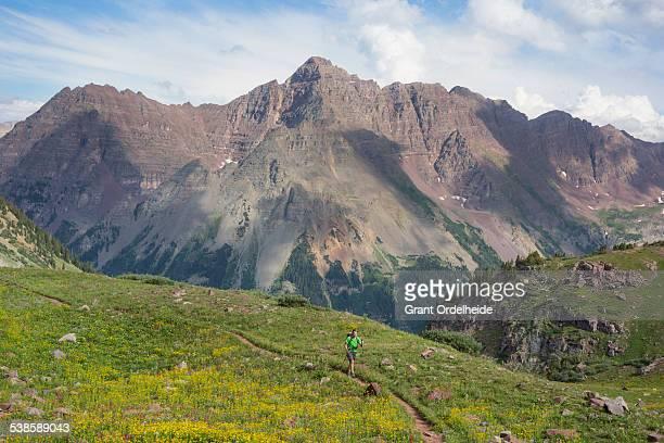 A hiker on the four pass loop near Aspen Colorado.