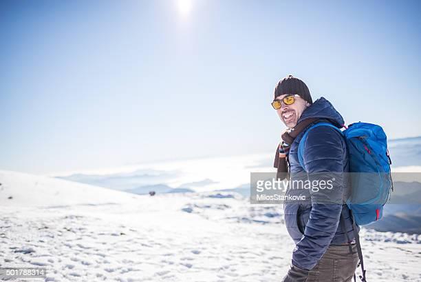 Wanderer auf dem Gipfel des Berges