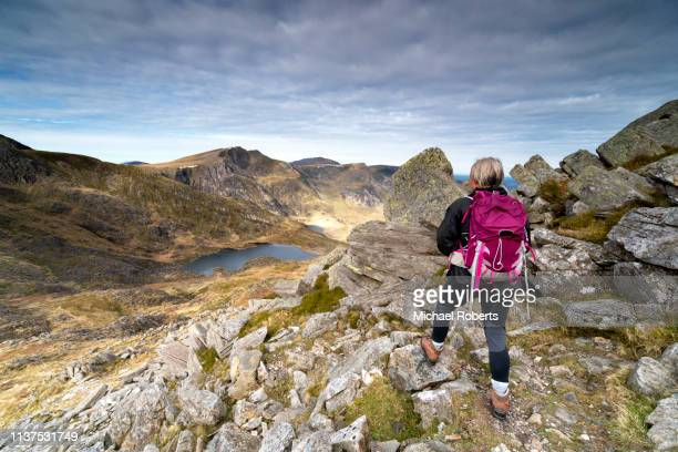 hiker on tryfan looking towards glyder fawr and llyn bochlwyd in snowdonia - mountain range stock pictures, royalty-free photos & images