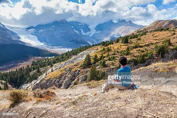 Hiker on Wilcox pass, Jasper National Park