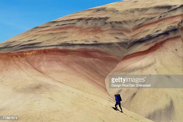 'Hiker, Painted Hills desert, John Day National Fossil Beds'
