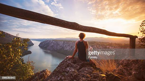 hiker - danube river stock pictures, royalty-free photos & images