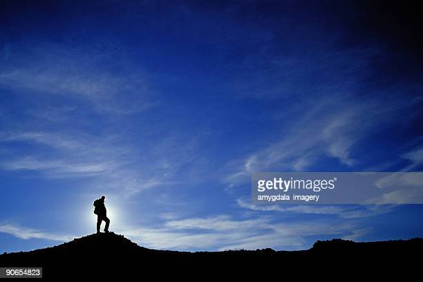 hiker silhouette with big sky and clouds landscape - wide stock pictures, royalty-free photos & images