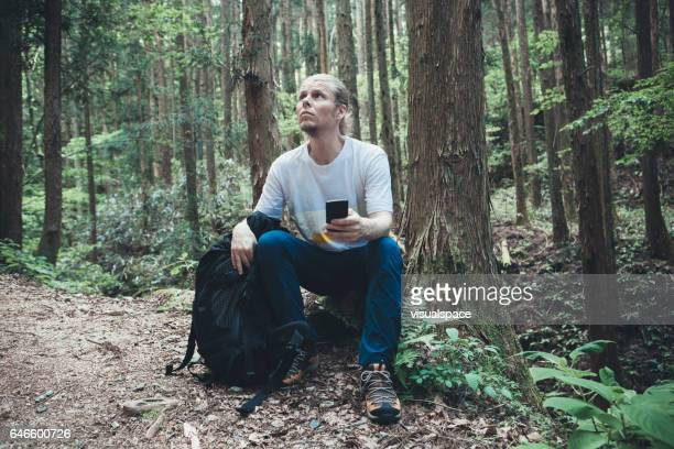 Hiker Sitting and Resting