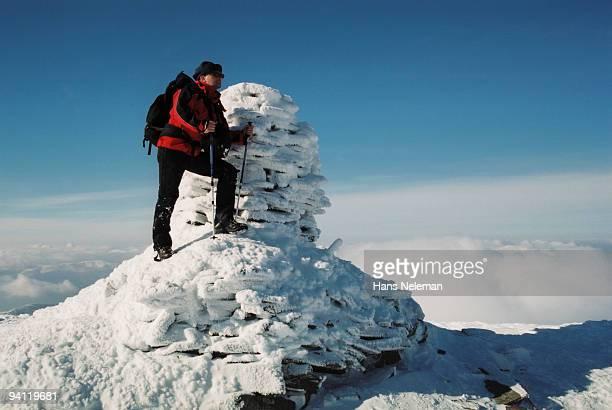 hiker standing on the top of mountain, petros mountain, carpathian mountain range, ukraine - hans neleman ストックフォトと画像