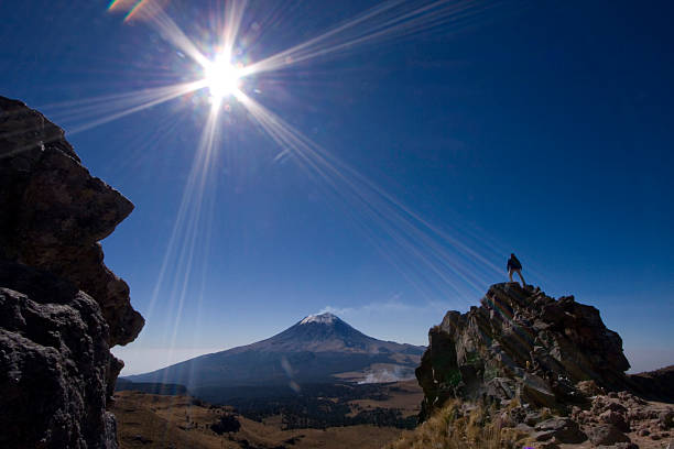 Hiker Standing On Top Of A Rock With Volcano In The Background, Iztaccihuatl, Mexico Wall Art