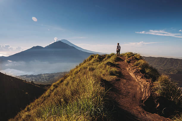 Hiker Staying On Top Of  Mount Batur Wall Art