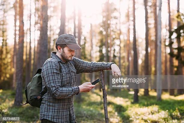alpinista usando gps em seu smartphone enquanto na natureza - bosque área arborizada - fotografias e filmes do acervo
