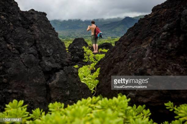 randonneur marchant à travers le paysage volcanique au parc d'état de waianapanapa. - arbre tropical photos et images de collection