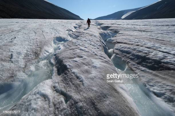 Hiker walks among winding channels carved by water on the surface of the melting Longyearbreen glacier during a summer heat wave on Svalbard...
