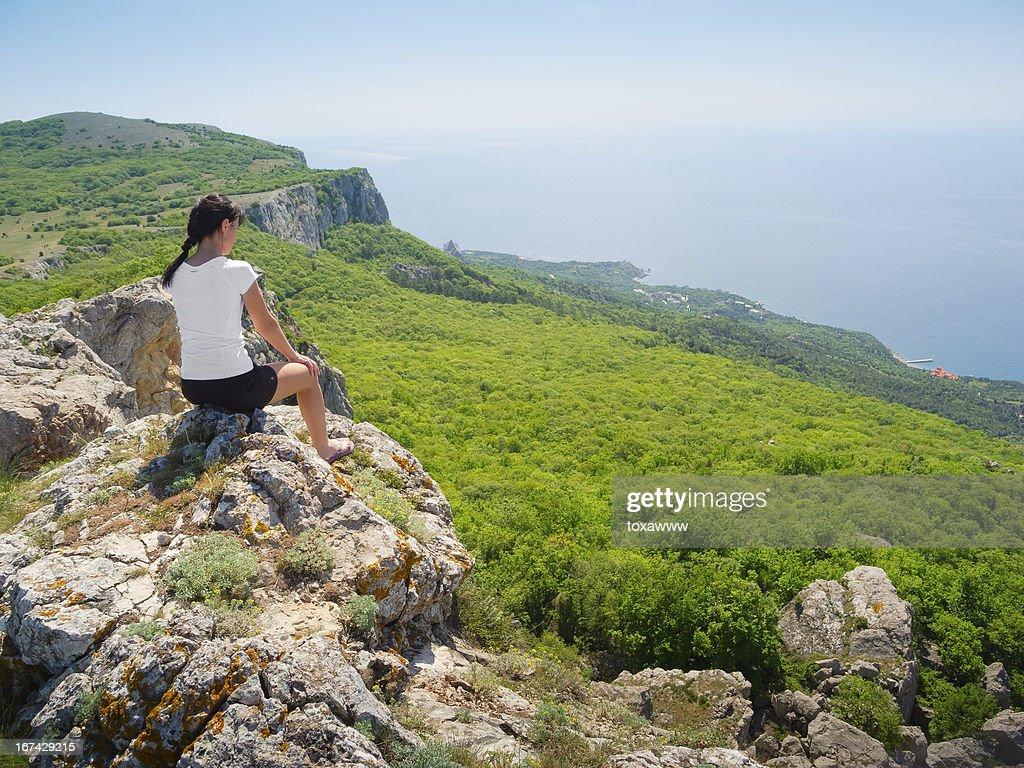 Hiker watch the terrain : Stock Photo