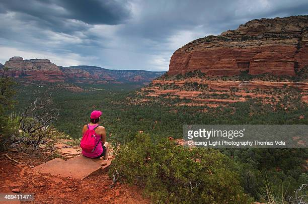 Hiker Watching Storm Roll In