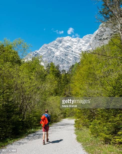 Hiker, Watzmann massif, St. Bartholomae am Koenigssee, Berchtesgaden National Park, Berchtesgaden District, Upper Bavaria, Bavaria, Germany
