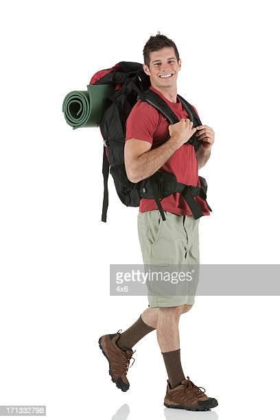 wanderer mit rucksack - tourist stock-fotos und bilder