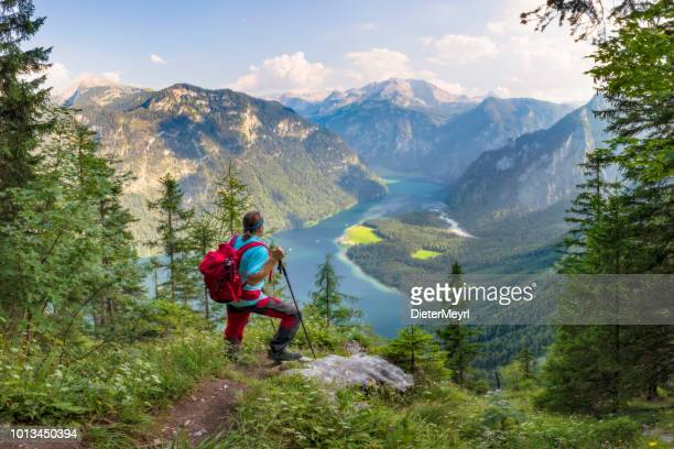hiker with view to lake königssee and st bartholomä, nationalpark berchtesgaden - berchtesgadener land stock photos and pictures