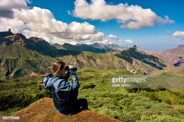 hiker woman admiring the view - grand canary stock pictures, royalty-free photos & images