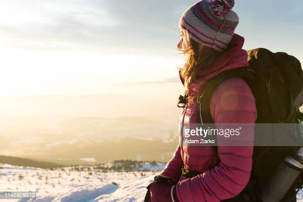 hiker woman walking on the mountain ridge - babia góra mountain stock pictures, royalty-free photos & images