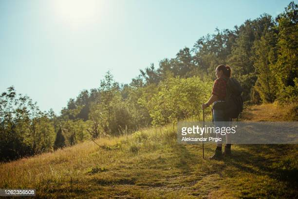 hiker woman walking outdoor at sunset - binoculars stock pictures, royalty-free photos & images