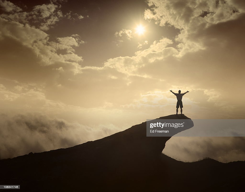 Hiker/Climber in Triumphant Pose : Stock Photo
