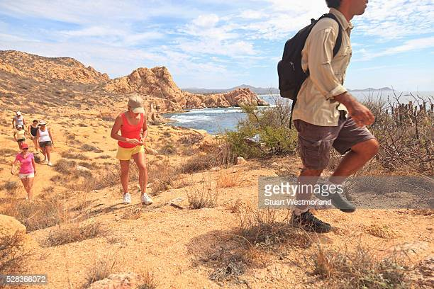 Hikers Along A Scenic Desert Trail; Baja California Sur Mexico