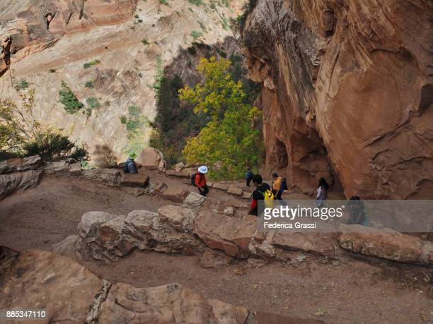 Hikers Along The Famous Trail Called Walter's Wiggles, Zion National Park, Utah