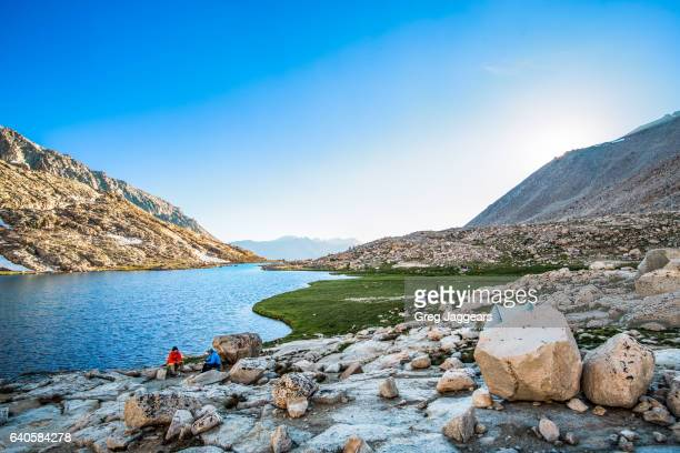 hikers around guitar lake in the sierra nevada - pacific crest trail stock pictures, royalty-free photos & images