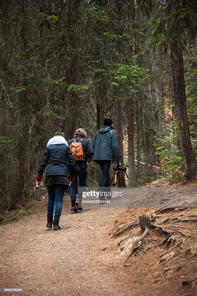 Hikers at Johnston Canyon in the Canadian Rocky Mountains, Alberta, Canada : Stock Photo