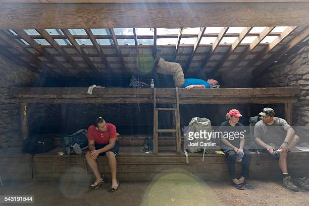 Hikers at Mollies Ridge Shelter in Smoky Mountains