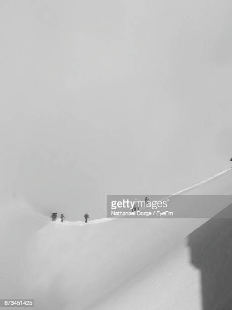 Hikers Climbing Aiguille Du Midi During Winter
