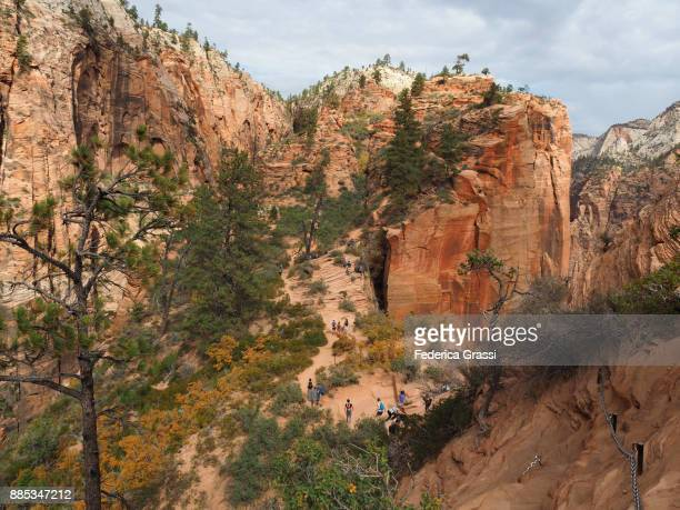 Hikers Descending The Steep Angels Landing Trail, Zion National Park