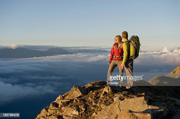 Hikers enjoy view at the summit