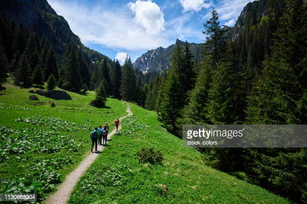 hikers exploring nature - romania stock pictures, royalty-free photos & images