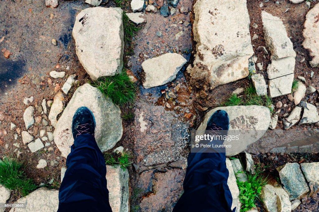 Hikers feet. : Stock Photo